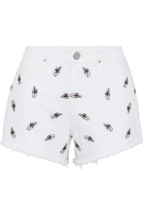 ZOE KARSSEN Frayed embroidered denim shorts
