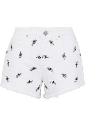 ZOE KARSSEN Frayed embroidered denim shorts