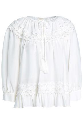 KATE SPADE New York Lace-appliquéd silk crepe de chine blouse