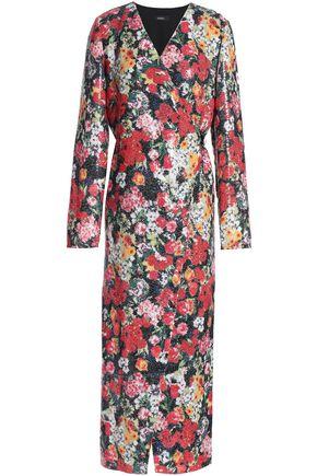 GOEN.J Sequined floral-print crepe wrap dress