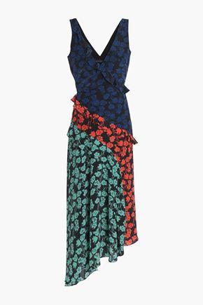 SALONI Floral-print ruffle-trimmed silk crepe de chine dress