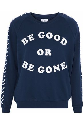 ZOE KARSSEN Lace-up printed French cotton-blend terry sweatshirt