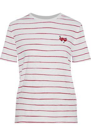 ZOE KARSSEN Embroidered striped cotton and linen-blend T-shirt