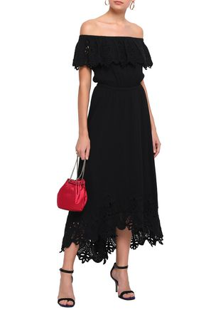 RACHEL ZOE Off-the-shoulder broderie anglaise-trimmed cotton midi dress