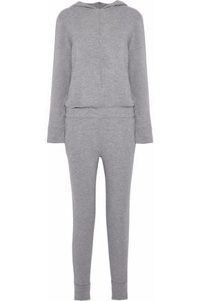 MONROW Mélange French terry hooded jumpsuit