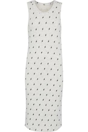 MONROW Printed mélange stretch-jersey dress