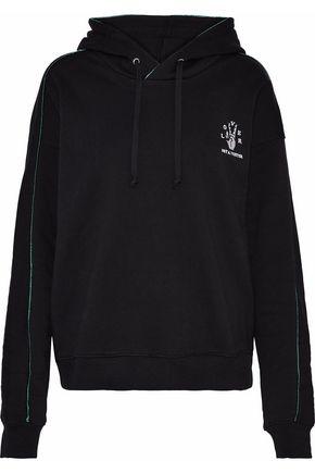 ZOE KARSSEN Metallic-trimmed embroidered cotton-fleece hoodie