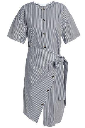 GOEN.J Wrap-effect button-detailed striped cotton-poplin dress
