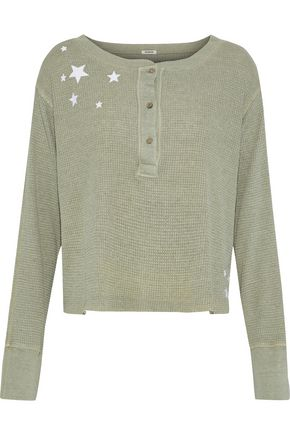 MONROW Embroidered waffle-knit top