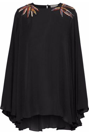 EMILIO PUCCI Draped crystal-embellished silk crepe de chine blouse