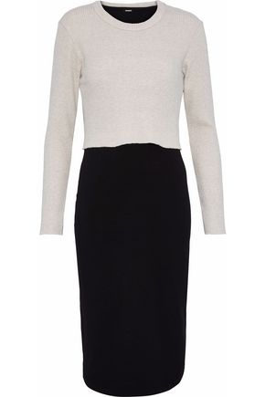 MONROW Layered ribbed-knit and stretch-cotton jersey dress