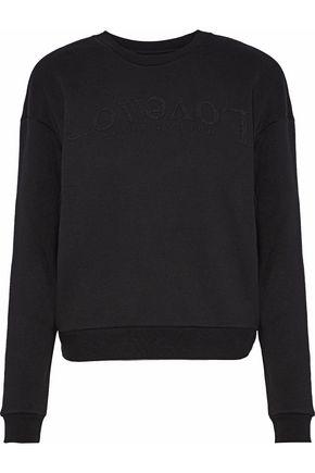 ZOE KARSSEN Zip-detailed bead-embellished cotton-blend fleece sweatshirt
