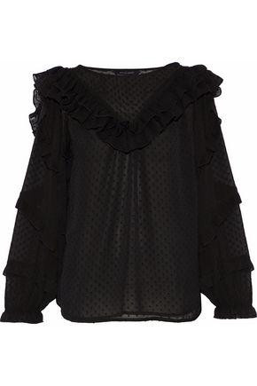 W118 by WALTER BAKER Lena ruffle-trimmed fil coupé georgette blouse