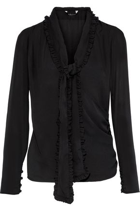 W118 by WALTER BAKER Azalee pussy-bow wrap-effect crepe de chine blouse