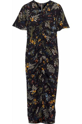 W118 by WALTER BAKER Stanley ruched floral-print crepe de chine midi dress