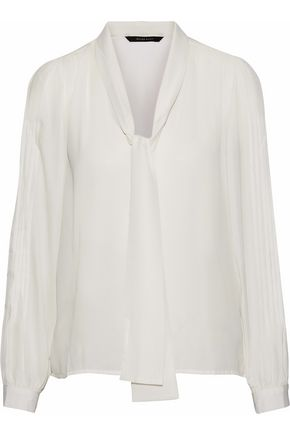 W118 by WALTER BAKER Hilana tie-neck pintucked crepe de chine blouse