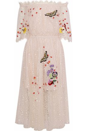TEMPERLEY LONDON Leo off-the shoulder embroidered lace midi dress