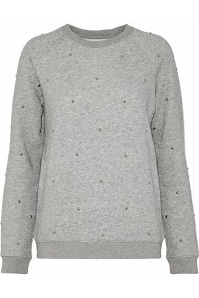 ZOE KARSSEN Studded mélange cotton-blend fleece sweatshirt