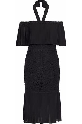 TEMPERLEY LONDON Off-the-shoulder chiffon and guipure lace dress