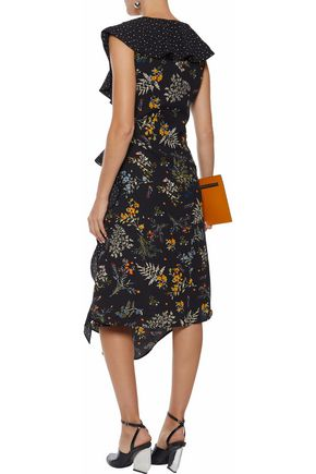 W118 by WALTER BAKER Emi ruffled printed crepe de chine midi dress