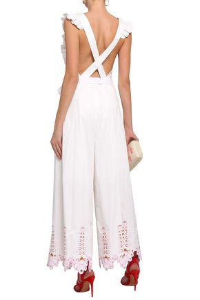 TEMPERLEY LONDON Ruffle-trimmed broderie anglaise cotton-poplin jumpsuit