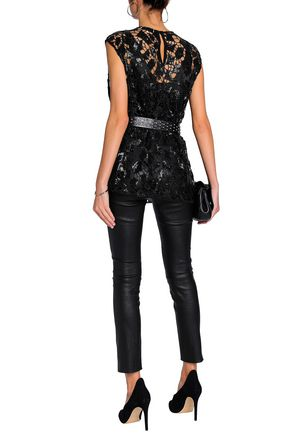 IRO Sequined embroidered macramé top