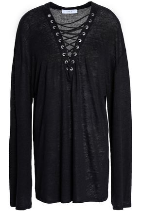 IRO Lace-up slub linen shirt