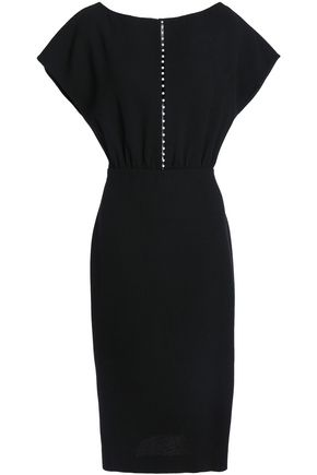 LELA ROSE Faux pearl-embellished wool-blend crepe dress