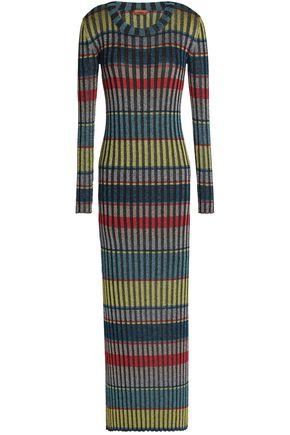 MISSONI Striped metallic crochet-knit maxi dress