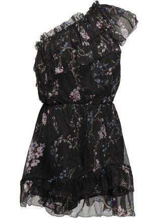 ZIMMERMANN One-shoulder ruffled printed silk-georgette playsuit