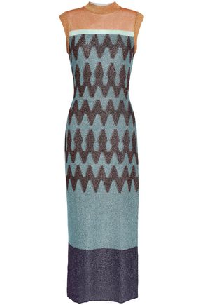 MISSONI Paneled bouclé and jacquard-knit midi dress