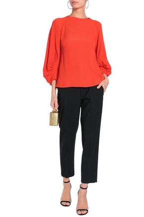 LELA ROSE Gathered cloqué blouse