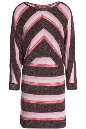 MISSONI Paneled metallic crochet and bouclé-knit mini dress