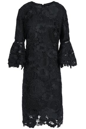 LELA ROSE Fluted guipure lace dress