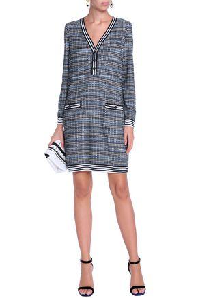 MISSONI Checked crochet-knit wool-blend mini dress