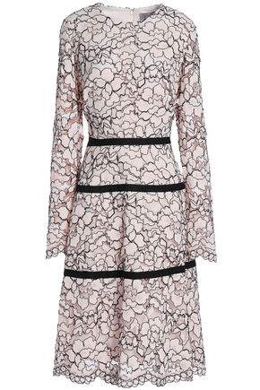 LELA ROSE Grosgrain-trimmed corded lace dress