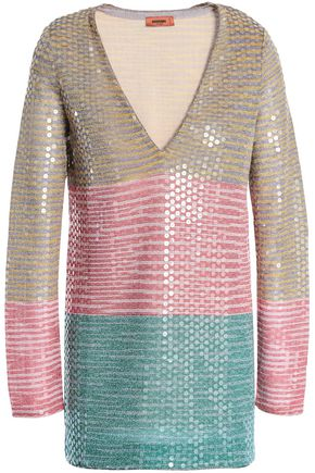 MISSONI Metallic sequined crochet-knit top
