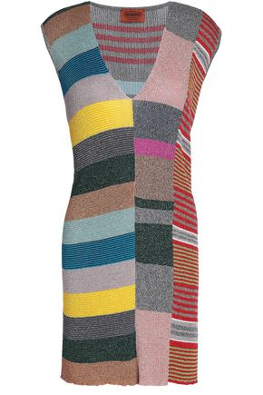 MISSONI Metallic color-block ribbed-knit mini dress
