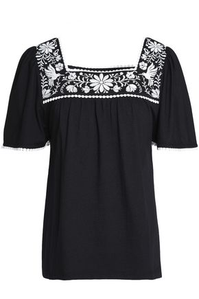 KATE SPADE New York Broome Street embroidered cotton-jersey top
