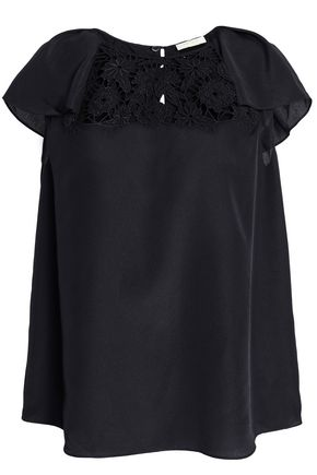 KATE SPADE New York Baja Bound embroidered crepe blouse