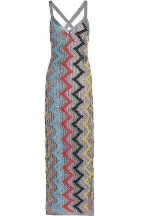 MISSONI Metallic pointelle-knit maxi dress