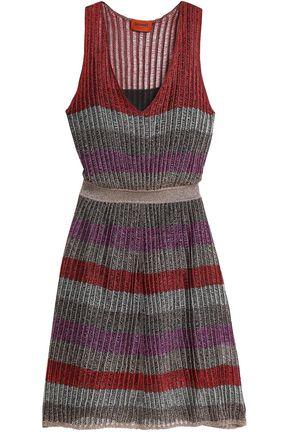 MISSONI Metallic striped crochet-knit dress