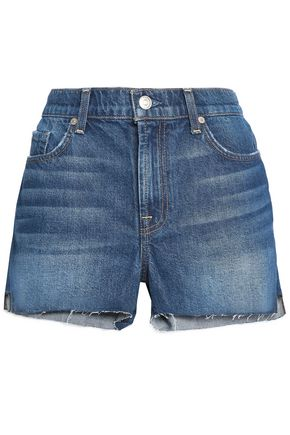 7 FOR ALL MANKIND Frayed high-rise denim shorts
