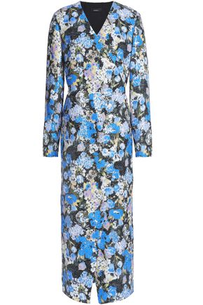 GOEN.J Sequined floral-print crepe midi wrap dress
