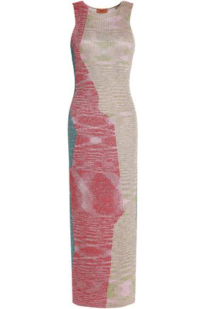 MISSONI Metallic color-block ribbed-knit midi dress