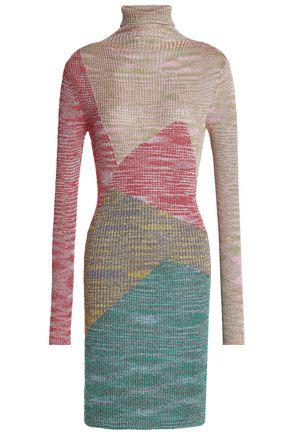 MISSONI Color-block metallic ribbed-knit turtleneck mini dress