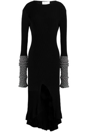 ESTEBAN CORTAZAR Metallic-trimmed split-front ribbed-knit mini dress