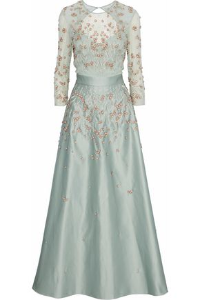 TEMPERLEY LONDON Embellished tulle and duchesse-satin gown