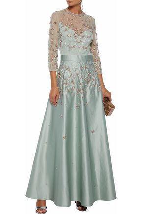 Temperley London Embellished Tulle And Sse Satin Gown
