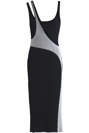 ESTEBAN CORTAZAR Paneled stretch-ponte midi dress